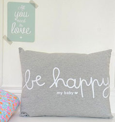 Coussin 'Be happy my baby' sur French Blossom