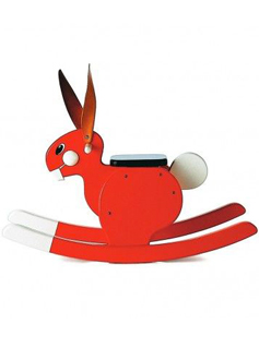 Lapin à bascule rouge Playsam sur Smallable